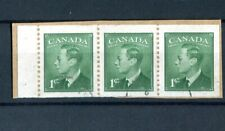Canada KGVI 1949-51 1c green booklet pane (imperf x p12) SG422ba used on piece
