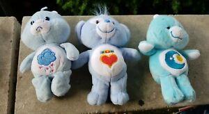 "2003 Care Bears Teddy Bear Plush Lot Of 3  Stuffed 6""  Sleepy - Loyal - Cloudy"