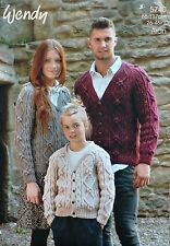 KNITTING PATTERN Ladies/Mens/Children V-Neck Cable Jacket Aran Wendy 5740
