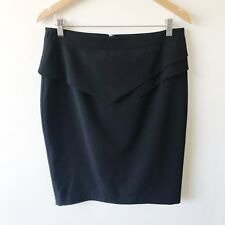 Portmans W32 Size 14 Black Peplum Pencil Skirt Womens Lined Work Career