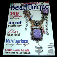 BEAD UNIQUE MAGAZINE ~ AUG. 2011 ~ RECYCLED GLASS LAMPWORK BEADS ~ BIKER CHIC ++