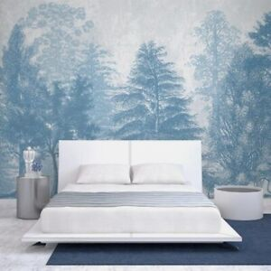 3D Blue Forest Trees Abstract Wall Mural Wallpaper Living Room Lounge Bedroom