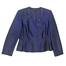 Tahari 12 Jacket Formal Purple Arthur Levine Luxe Satin Blue Embellished Beads