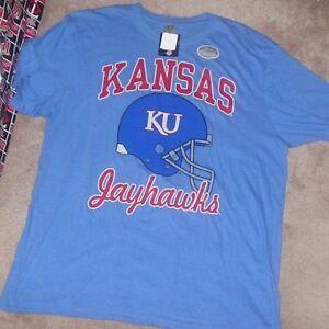 NEW NCAA Kansas Jayhawks T Shirt  Football Helmet 2XL XXL NEW NWT