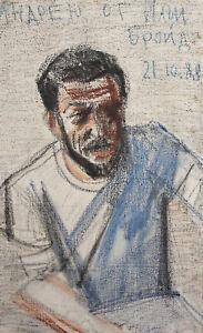 1988 Pastel painting male portrait signed