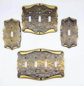 Lot of 4 vintage SA Metal / Aluminum Amerock Light Switch Plate Plug Covers