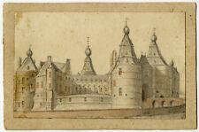 Rare. Antique Drawing-VIEW-CASTLE-BATENBURG-WIJCHEN-GELDERLAND-Anonymous-c. 1840