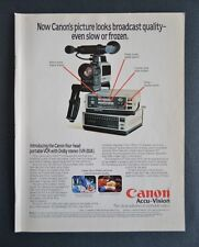 1983 Canon VCR Portable 4 Head Dolby Stereo VR-20A Accu-Vision Vintage Print Ad