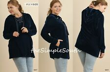 New UMGEE Navy Blue Velvet Lace-Up Neck Hooded Pullover Tunic Top w/Pockets 1XL