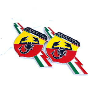 2pcs Fiat Abarth Side Fender Wing Trunk Badge Emblem Decal Green Red White