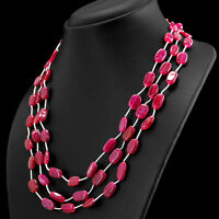 238.00 CTS EARTH MINED RICH RED RUBY 3 STRAND OVAL SHAPE BEADS NECKLACE - RARE