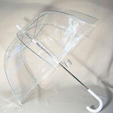 Regenschirm durchsichtig/transparent Glockenschirm klar / Griff weiß automatik