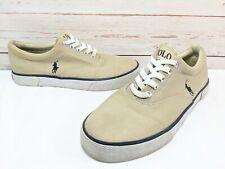 Men's POLO RALPH LAUREN Sz. 8D Khaki Tan PONY Canvas FORESTMONT Boat Shoes