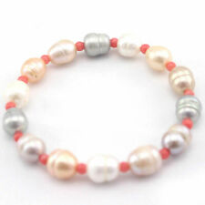 """Coral Stretchy Jewelry Bracelet 7.5"""" Fashion 9-10mm Olivary Mixed Pearl&4mm Pink"""