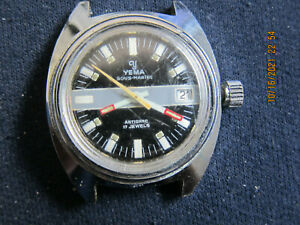 YEMA Sous-Marine Automatic 17j Date 36mm Mens Diver Watch - Runs great,Accurate