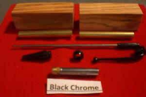 Slimline Fancy Pen Kits In Black Chrome with Drilled Olive Blanks