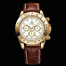 White Face OUYAWEI Mens Day Date Mechanical Automatic Genuine Leather Band Watch