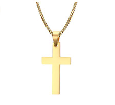 Gold Plated Cross Necklace, Unisex Cross on 60cm Cuban Chain for Men or Women
