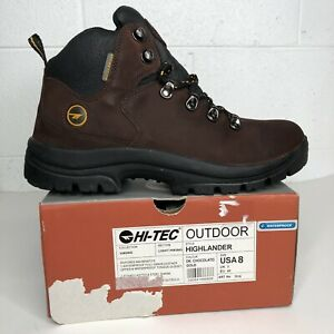 Vintage 90's HI-TEC Hiking Boots Womens Size 8 Brown Leather Waterproof