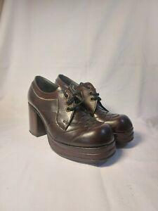 Vintage 70's Platform Shoes Brown Size 7 High Heels