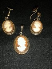 Beautifully Cut Vintage Shell Cameo  Pendant and Earrings in 800 Silver