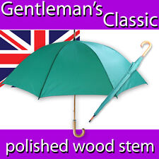 MENS LADIES CLASSIC RACING GREEN LARGE CANOPY UMBRELLA POLISHED WOOD SHAFT CROOK