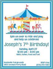 12 PRINTED Carousel Carnival Fair Invitations ~ Style #3