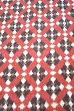 Japanese Silk Ikat Red Grey Black Geometric Design - 197