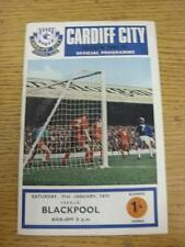 31/01/1970 Cardiff City v Blackpool  (Score Noted On Back). Item in very good co