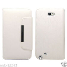 Samsung Galaxy Note II 2 Wallet Case w/ Card Slot Magnetic Closure White