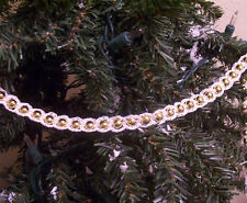 Crochet White on Gold Beaded Christmas Garland 9'