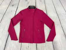 Ibex Women's Rasberry Merino Wool Blend Outdoor Hiking Knit Sweater Jacket Sz S