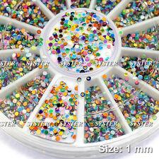 1 mm Round Spangles Glitter Multicolor DIY Nail Art Decorations + Wheel #SB-099