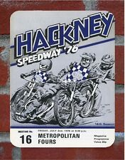Vintage Tin Sign 1976 Hackney  Speedway Programme Metal Sign Man Cave