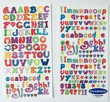 Two sheets Fun Patterned Numbers Letters Alphabet Scrapbook Stickers