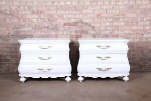 Italian White Lacquered Bombay Bedside Chests, Newly Refinished