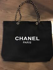 Chanel Beauty Black Canvas Tote With Gold Chain VIP Gift Bag