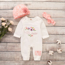 Newborn Baby Girl 3PCS Bodysuit Jumpsuit Romper Hat Headband Outfits Clothes Set