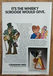 1970 CANADIAN MIST Canadian Whisky Scrooge Christmas Decanter Magazine Ad