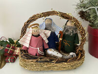 Pinecone Nativity Set Scene Handmade Mary Joseph Baby Jesus Shepard Sheep Basket