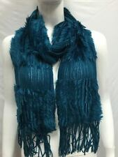 KNITTED WITH FUR WINTER SCARF THICK BULKY COLOR TEAL