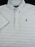 Recent Polo Ralph Lauren Slim Blue Stripe Button Down Polo Style Shirt Size- L
