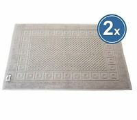 2 x Badvorleger Duschmatte 50x70 cm grau 100% BW Griechenbordüre & Waffelmuster