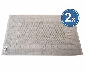 2 X Bath Mat Shower 50x70 CM Grey 100% Cotton Griechenbordüre & Waffle Pattern