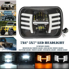 "Off-road Square Headlamp 7x6"" 5x7"" LED Headlight DRL Turn Signal High/Low Beam"
