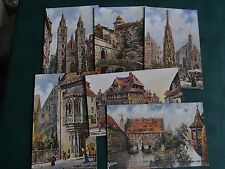 SET OF SIX CHARLES FLOWER SIGNED TUCK POSTCARDS - NURNBERG - OILETTE No. 611B.