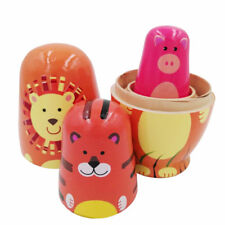 5pcs/set Russian Nesting Doll Handmade Wooden Animal Painted Toy Gift CB
