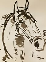 JOSE TRUJILLO - Impressionist Black INK WASH on Paper Collectible Horse Portrait