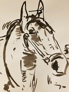 JOSE TRUJILLO - Impressionist Black INK WASH on Paper Collectible Horse Portrait