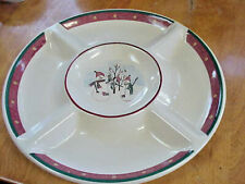 "Royal Seasons Stoneware 14"" Divided Platter Snowmen Christmas Plate"